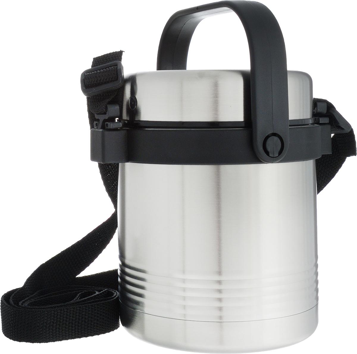 Термос для еды Emsa Senator, с контейнером, 1 л10-02286-003Термос Emsa Senator изготовлен из высококачественной нержавеющей стали. Термос предназначен для горячих и холодных продуктов. Термос оснащен глухой крышкой, которая предотвращает проливание. Также он имеет удобную ручку и съемный ремень.Внутри термоса есть дополнительный пластиковый контейнер, который герметично закрывается крышкой.Стильный металлический термос понравится абсолютно всем и впишется в любой интерьер кухни.Можно мыть в посудомоечной машине.Диаметр горлышка термоса: 11 см.Диаметр основания термоса: 11 см.Высота термоса (с учетом крышки): 16 см. Диаметр контейнера: 10 см. Высота контейнера (с учетом крышки): 12 см.Сохранение холода: 12 ч.Сохранение тепла: 6 ч.