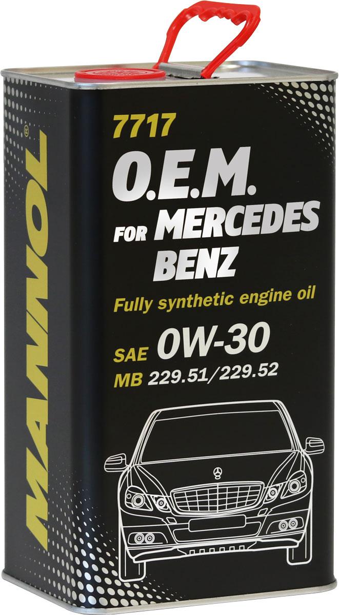 Моторное масло MANNOL 7717 O.E.M., для Mercedes-Benz, 0W-30, синтетическое, 4 л10503Моторное масло MANNOL 7717 O.E.M. - это синтетическое моторное масло нового поколения, специально разработанное для использования в бензиновых и дизельных двигателях автомобилей MERCEDES-BENZ. Высокотехнологичный пакет присадок (low SAPS - низкое содержание серы, золы и фосфора) обеспечивает оптимальную работу систем защиты окружающей среды, а также фильтров твердых частиц (DPF). Продукт имеет допуски / соответствует спецификациям / продуктам: SAE 0W-30API SN/CFACEA C2/C3MB Approval 229.51 / MB 229.51MB Approval 229.31 / MB 229.31MB Approval 229.52 / MB 229.52BMW Longlife-04 / BMW LL-04VW/AUDI 504.00VW/AUDI 507.00GM Dexos 2Porsche C30Ford WSS-M2C950-A