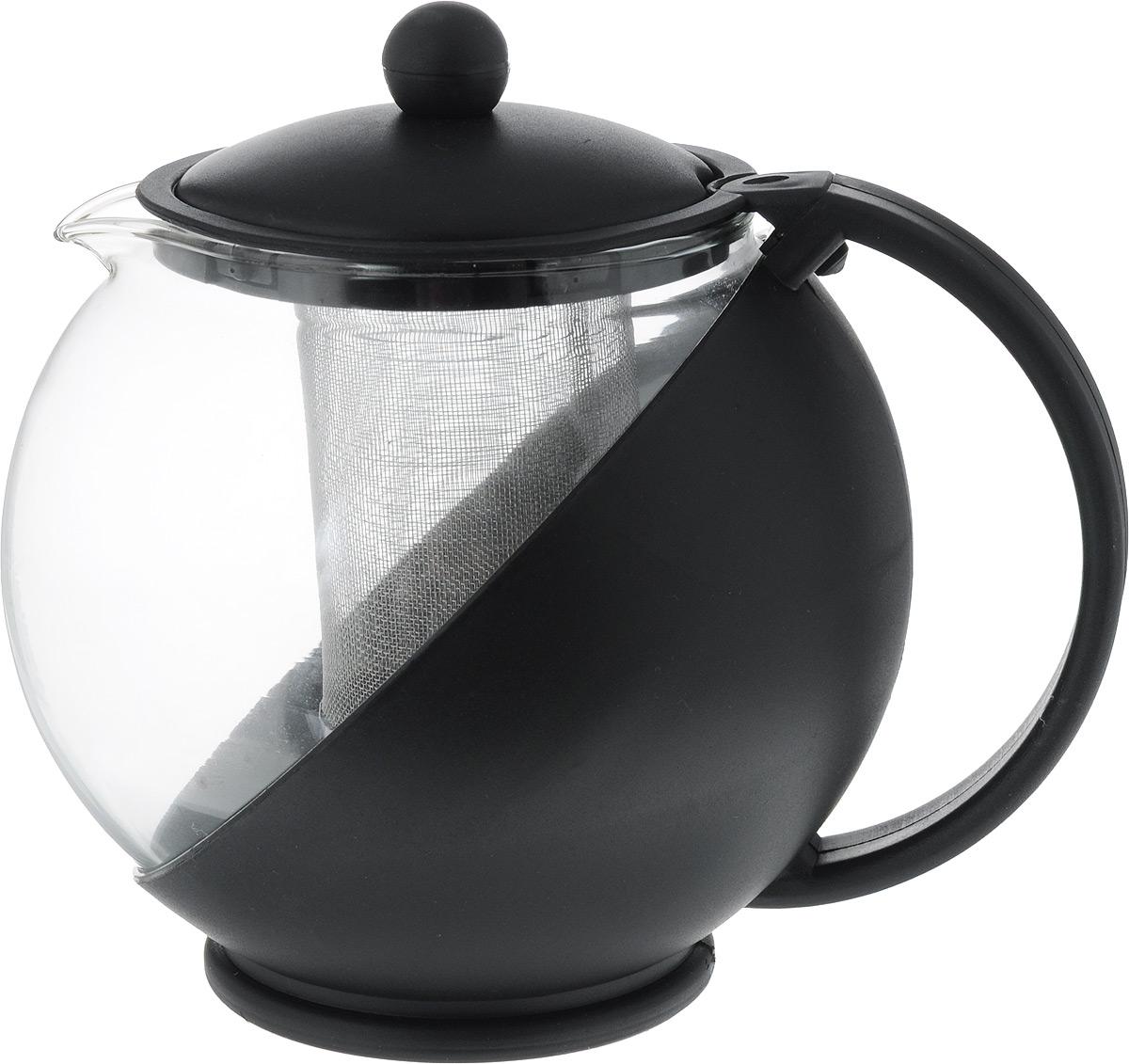 Чайник заварочный Mayer & Boch, с фильтром, цвет: прозрачный, черный, 1,25 лVT-1520(SR)Заварочный чайник Mayer & Boch изготовлен из пластика и термостойкого боросиликатного стекла. Посуда из стекла позволяет максимально сохранить полезные свойства и вкусовые качества воды. Прозрачные стенки чайника придают ему эстетичности на столе и помогают определить крепость завариваемого напитка. Внутренняя сеточка для заварки также выполняет функцию фильтра, который задержит чаинки. За чайником легко ухаживать, так как его можно мыть в посудомоечной машине.Объем: 1,25 л.