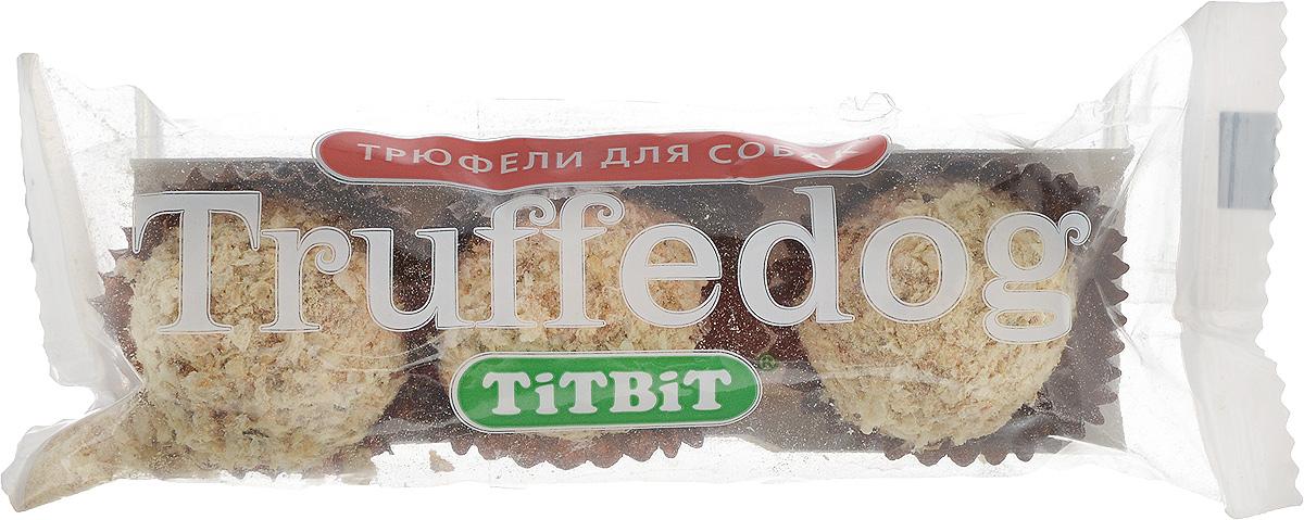 Лакомство для собак Titbit Трюфельдоги, с кроликом, 33 г101246Titbit Трюфельдоги - это полезное и вкусное лакомство для собак. Они представляют собой прессованные конфетки в виде шариков с ароматной обсыпкой. Благодаря ингредиентам, входящим в состав лакомства, ваш питомец получит дополнительные питательные вещества, а также витамины и минералы. Мясо кролика – диетическое, отличается высоким содержанием белков, витаминов, минералов и низким содержанием жиров и холестерина. Говяжьи кишки содержат ряд веществ, необходимых для нормальной работы желудочно-кишечного тракта. Для усиления регуляции работы кишечника в продукт добавлены петрушка и розмарин.Состав: кожа говяжья - 25%, мясо кролика - 15%, кукуруза - 15%, кишки говяжьи - 12%, пшеничный зародыш - 10%, мясо курицы - 6%, легкое говяжье - 3%, петрушка - 2%.Пищевая ценность в 100 г продукта: белок - 16 г, жир - 5 г, клетчатка - 0,4 г, зола - 1 г, влага - 8 г. Энергетическая ценность на 100 г продукта: 389 кКал. Товар сертифицирован.