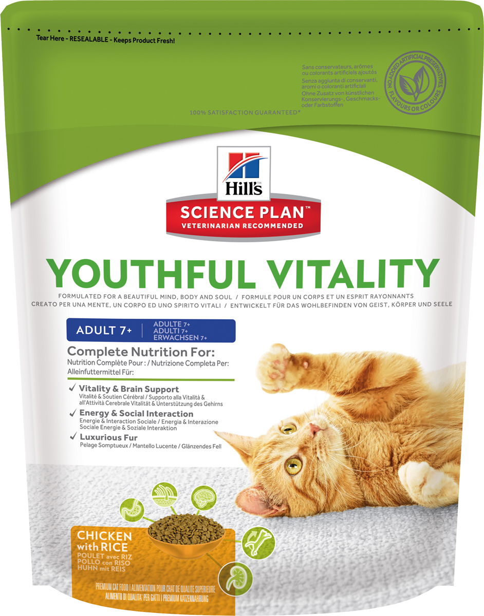Корм сухой Hills Youthful Vitality, для пожилых кошек старше 7 лет, с курицей и рисом, 250 г0120710Полноценное повседневное питание, разработанное на основе достижений науки и соответствующее возрасту, размеру породы вашего питомца и его индивидуальным особенностям.Каждая гранула рационов Hill's Science Plan содержит необходимый набор нутриентов, способных улучшить жизнь питомца и сделать его здоровым и счастливым на долгие годы.- Гарантия 100% качества, консистенции и вкуса.- Содержит клинически подтвержденные антиоксиданты, которые нейтрализуют свободные радикалы и поддерживают иммунитет.- Изготовлено из высококачественных натуральных ингредиентов.- Не содержит искусственных красителей, ароматизаторов и консервантов.- Превосходный вкус, который понравится вашему питомцу.Изготовлен в Европе. Science Plan Youthful Vitality разработан с применением передовых технологий науки о питании, рацион, помогающий бороться с признаками старения вашей кошки в возрасте старше 7 лет. Инновационная запатентованная рецептура с жирными кислотами и антиоксидантами, включая витамины С + Е, позволяет противостоять процессам старения на клеточном уровне. Уже более десяти лет в Хиллс Пет Нутришн изучают влияние питания на функции клеток домашних животных и установили, что процесс старения сложен и включает совокупность факторов, приводящих к снижению физических и умственных способностей животных. Сбалансированное питание поддерживает питомцев и их клетки в процессе старения.Ключевые преимущества рациона. Инновационная формула Science Plan Youthful Vitality разработана с использованием ингредиентов, помогающих поддерживать:- Активность функции головного мозга.- Здоровье почек и мочевыводящих путей. - Энергию и активность.- Роскошную шерсть. - Здоровье пищеварительной системы.- Здоровье иммунной системы.Показания. Взрослым кошкам в возрасте старше 7 лет. Подходит стерилизованным кошкам обоих полов. Противопоказания. Не рекомендуется: - Котятам ( - Взрослым кошкам (1-6 лет). - Беременным и 