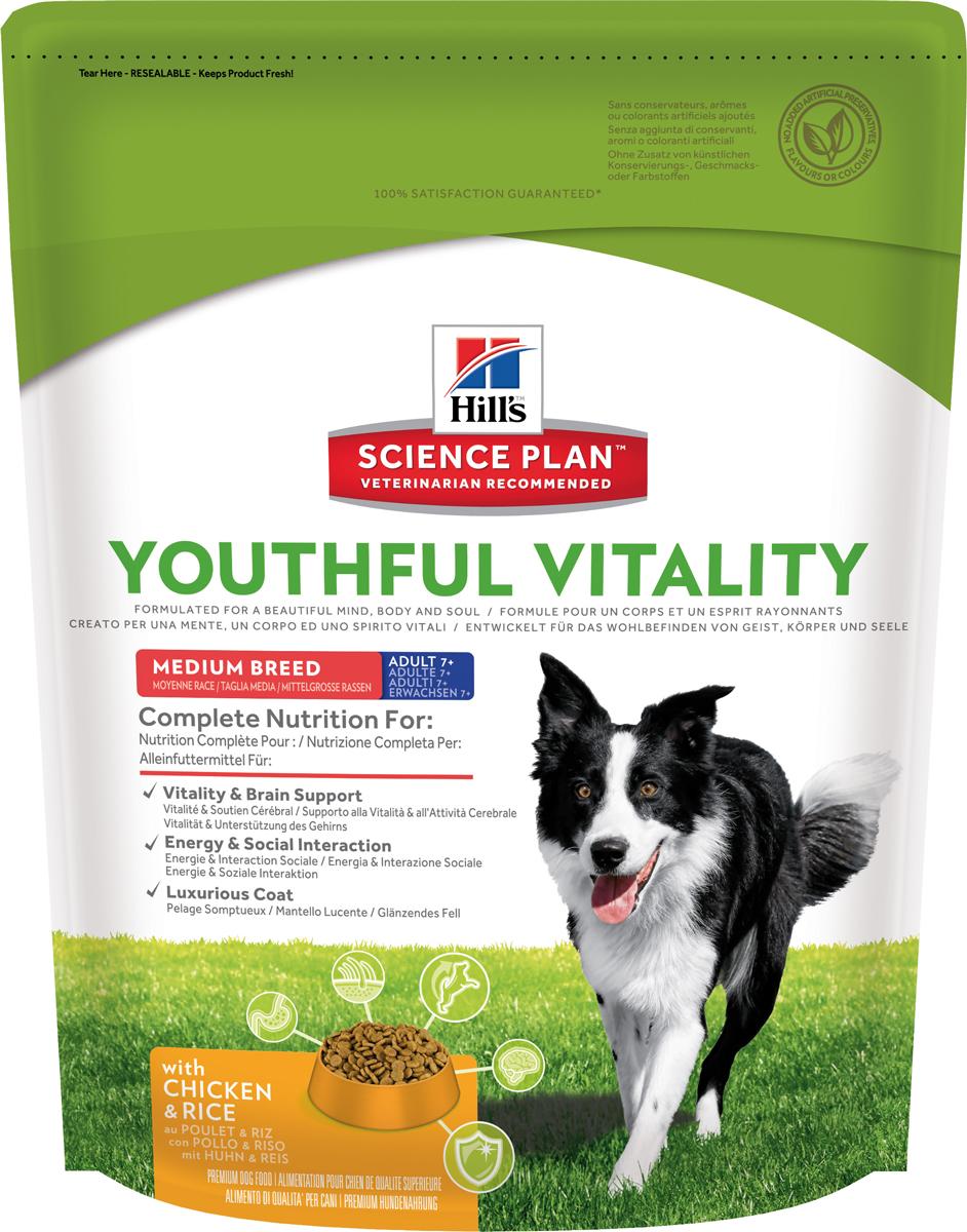 Корм сухой Hills Youthful Vitality, для пожилых собак старше 7 лет средних пород, с курицей и рисом, 750 г10987Полноценное повседневное питание, разработанное на основе достижений науки и соответствующее возрасту, размеру породы вашего питомца и его индивидуальным особенностям.Каждая гранула рационов Hill's Science Plan содержит необходимый набор нутриентов, способных улучшить жизнь питомца и сделать его здоровым и счастливым на долгие годы.- Гарантия 100% качества, консистенции и вкуса.- Содержит клинически подтвержденные антиоксиданты, которые нейтрализуют свободные радикалы и поддерживают иммунитет.- Изготовлено из высококачественных натуральных ингредиентов.- Не содержит искусственных красителей, ароматизаторов и консервантов.- Превосходный вкус, который понравится вашему питомцу.Изготовлен в Европе. Science Plan Youthful Vitality разработан с применением передовых технологий науки о питании, рацион, помогающий бороться с признаками старения вашей собаки в возрасте старше 7 лет. Инновационная запатентованная рецептура с жирными кислотами и антиоксидантами, включая витамины С + Е, позволяет противостоять процессам старения на клеточном уровне. Уже более десяти лет в Хиллс Пет Нутришн изучают влияние питания на функции клеток домашних животных и установили, что процесс старения сложен и включает совокупность факторов, приводящих к снижению физических и умственных способностей животных. Сбалансированное питание поддерживает питомцев и их клетки в процессе старения. Ключевые преимущества рациона. Инновационная запатентованная формула Science Plan Youthful Vitality разработана с использованием ингредиентов, помогающих поддерживать:- Активность функции головного мозга.- Энергию и активность.- Роскошную шерсть. - Здоровье иммунной системы.- Здоровье пищеварительной системы.- Поддержка суставов и подвижности.Показания. Собакам мелких и средних пород (весом 10-25кг) в возрасте старше 7 лет.Противопоказания.Не рекомендуется: - Щенкам (младше 1 года). - Взрослым собакам (1