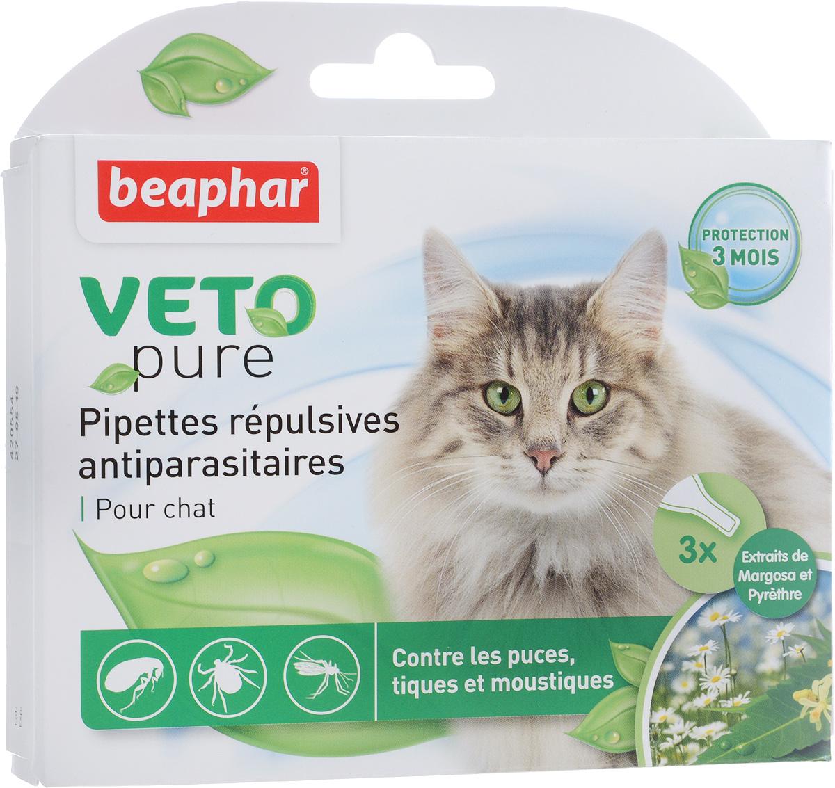 Капли от блох и клещей  Beaphar , для кошек с 12 недельного возраста, 3 шт х 1 мл