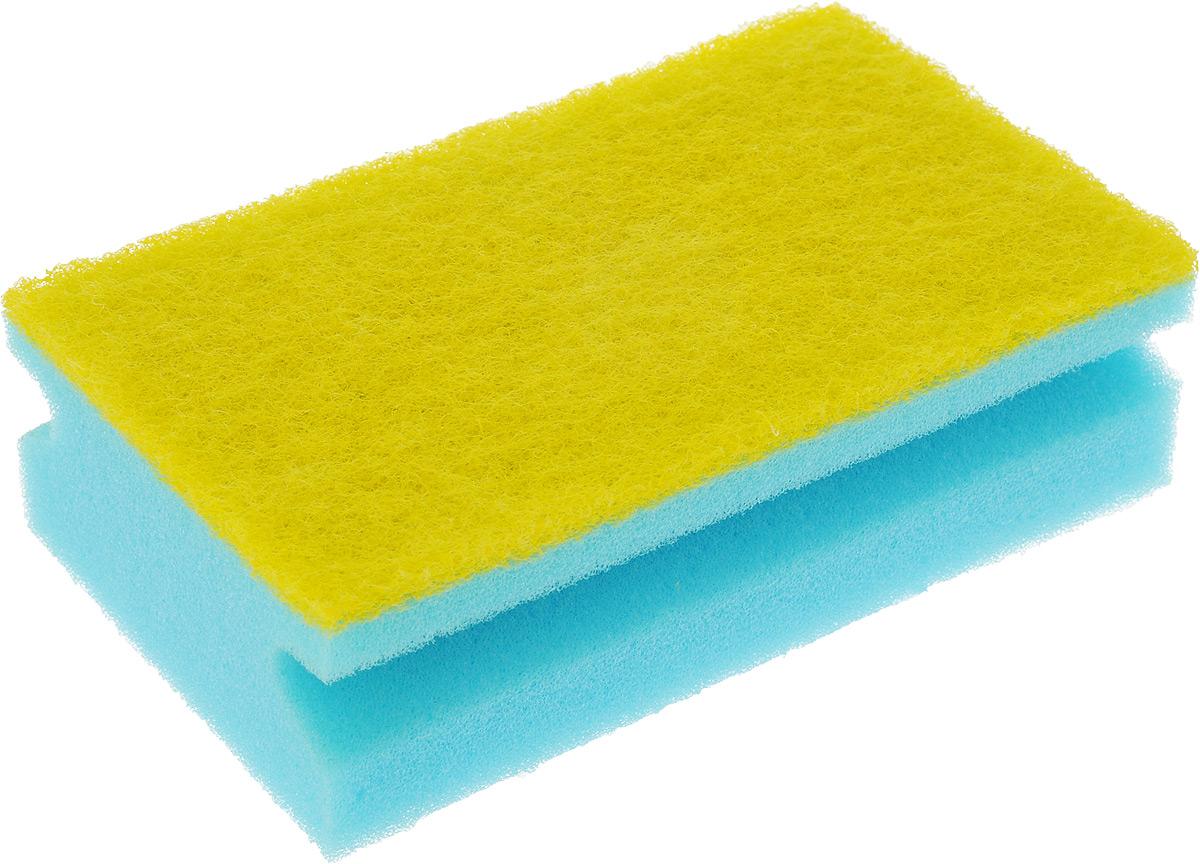 Губка для уборки помещений Хозяюшка Мила, цвет: голубой, желтый, 14,5 х 9 х 4,5 см787502Губка для уборки Хозяюшка Мила предназначена для уборки помещений и сантехники. Не подходит для деликатных поверхностей (стеклокерамики и акрила). Поролон повышенной плотности, из которого состоит губка, не деформируется и не крошится при нагрузках, обеспечивает обильную пену при минимальном расходе моющего средства. Прочный абразивный материал не загрязняется в процессе использования, отлично вымывается водой. Губка отлично справляется со стойкими следами грязи, застарелыми пятнами и известковым налетом. Губка имеет специальный клеевой шов, не позволяющий абразивному слою и поролону отслаиваться в процессе использования. Боковые вырезы сохраняют маникюр и обеспечивают удобный захват рукой.