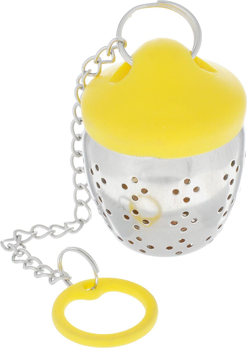 Ситечко для заваривания чая Mayer & Boch, цвет: желтый54 009312Ситечко для заваривания чая поможет быстро и вкусно заварить ваш любимый чай прямо в чашке. Ситечко изготовлено из нержавеющей стали и силикона. Плотно закрывающаяся створка ситечка обеспечивают комфорт во время использования. Изделие отлично сбалансировано - ситечко плавает, а силиконовая крышка свободно висит на чашке.Размер ситечка: 4,5 см х 3,5 см. Длина ситечка (с ручкой): 19 см.