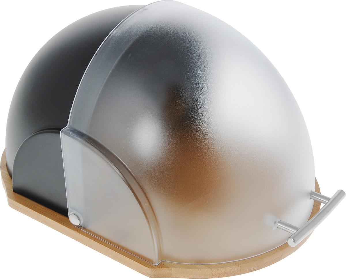 Хлебница Wellberg, цвет: черный, 37 x 26 x 23 см4630003364517Хлебница Wellberg, выполненная из бамбука и пластика, позволит сохранить ваш хлеб свежим и вкусным. Хлебница оснащена крышкой с ручкой из нержавеющей стали. Оригинальный яркий дизайн хлебницы выгодно дополнит любой кухонный интерьер. Хлебница надолго сохранит свежесть, мягкость, аромат хлеба и других хлебобулочных изделий.