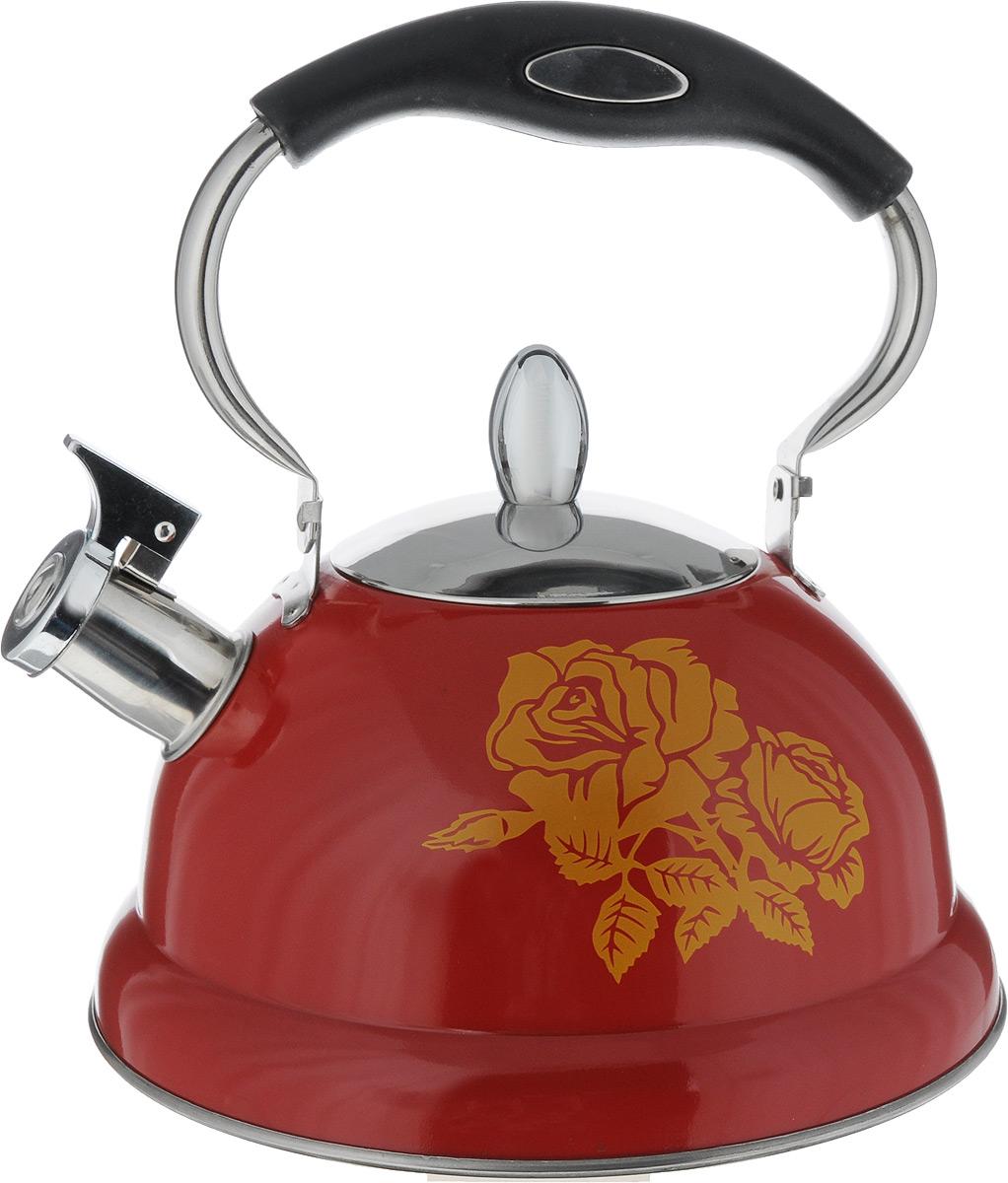 Чайник Mayer & Boch, со свистком, цвет: красный 2,6 л115510Чайник Mayer & Boch выполнен из высококачественной нержавеющей стали, что делает его весьма гигиеничным и устойчивым к износу при длительном использовании. Капсулированное дно с прослойкой из алюминия обеспечивает наилучшее распределение тепла. Носик чайника оснащен насадкой-свистком, что позволит вам контролировать процесс подогрева или кипячения воды. Подвижная ручка, оснащенная бакелитовой вставкой, обеспечивает дополнительное удобство при разлитии напитка. Поверхность чайника гладкая, что облегчает уход за ним. Эстетичный и функциональный чайник будет оригинально смотреться в любом интерьере.Подходит для всех типов плит, включая индукционные. Можно мыть в посудомоечной машине.Высота чайника (без учета ручки и крышки): 11,5 см.Высота чайника (с учетом ручки и крышки): 24,5 см.Диаметр чайника (по верхнему краю): 10 см.Диаметр индукционного диска: 17,5 см.Диаметр основания: 22 см.