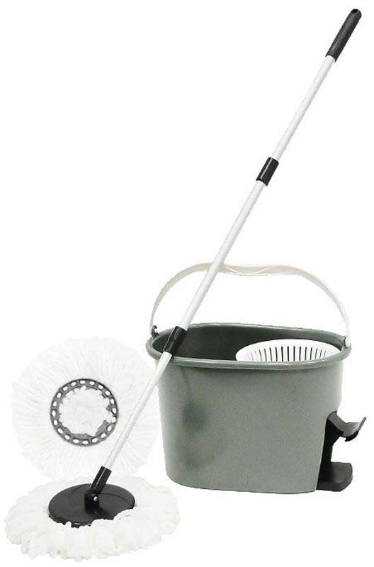 Набор для уборки Торнадо: швабра-вертушка, ведро531-105Набор для уборки Торнадо состоит из швабры-вертушки с ручкой, состоящей из трех частей, и ведра со специальным механизмом для выжимания. Швабра для пола оснащена крутящейся насадкой из микрофибры, обеспечивающей отличное впитывание грязи и жидкости во время уборки. Насадки крепятся при помощи пазов на защелки. Благодаря специальному ведру со встроенной центрифугой, уборка станет быстрой и гигиеничной, так как вы сможете выжимать швабру в предназначенном для этого ведре, не пачкая руки. Особый механизм, имеющийся в ведре, при нажатии на педаль раскручивает насадку, за счет чего вся вода попадает в емкость. При необходимости насадку из микрофибры можно стирать с помощью стиральной машины, а легкий вес и эргономичная ручка делают швабру удобной в эксплуатации. Характеристики:Материал: пластик, металл, микрофибра. Максимальная длина ручки швабры:120 см.Объем: 20 литров.Размер ведра:43 см х 29 см х 28 см. Размер упаковки:46 см х 32 см х 30 см. Комплектация:швабра, 2 насадки, ведро с центрифугой. Производитель:Китай. Артикул:TD0042.