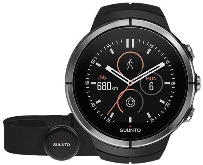Часы спортивные Suunto Spartan Ultra HR, цвет: черныйSS022658000Suunto Spartan Ultra — это продвинутые GPS-часы для мультиспорта с цветным сенсорным экраном, водонепроницаемостью до 100 м (300 фт.) и до 26 ч работы батареи в режиме тренировки. Компас и барометрическая высота с FusedAlti™ позволяют никогда не сбиться с пути. 80 предустановленных спортивных режимов и конкретные показатели по видам спорта делают Spartan Ultra вашим оптимальным партнером для тренировок. Отслеживайте достижения и личные рекорды. Оптимизируйте тренировки, опираясь на анализ данных сообщества. Открывайте новые маршруты в Suunto Movescount с помощью тепловых карт, пусть часы ведут вас по маршруту. Часы Spartan Ultra созданы вручную в Финляндии и спроектированы с прицелом на надежность в любых условиях. ВЫДЕРЖАТ ЛЮБЫЕ ПРИКЛЮЧЕНИЯВодонепроницаемость до глубины 100 м / 300 фт 18 часов работы от батареи в режиме максимальной мощности при фиксированном интервале опроса GPS (1 с) для наиболее точной GPS-навигации 26 часов работы от батареи в режиме экономии энергии при фиксированном интервале опроса GPS (1 с) для достаточно точной GPS-навигации Защищенный цветной сенсорный экран с тремя кнопками GPS/GLONASS для навигации по маршруту и определения расположения следование маршруту в реальном времени с маршрутом и точками POIGPS используется для отслеживания набора или снижения высоты в тренировке Алгоритм FusedAlti™ использует данные GPS и барометрическую высоту для точной оценки высоты Цифровой компас с компенсацией склонения ОПЫТ СПОРТИВНЫХ ДОСТИЖЕНИЙИзмерение частоты сердцебиения, оценка потраченных калорий, максимальной эффективности тренировки и времени восстановления Поддержка более 80 видов спорта в режимах соревнований и интервальной тренировки Режим триатлона и мультиспорта Настройка интервальных тренировок на часахБег: таблица пройденных этапов со сведениями о темпе бега и частоте сердцебиения; точное измерение темпа с технологией FusedSpeed™ поддержка датчика Stryd для оценки затрат мощн