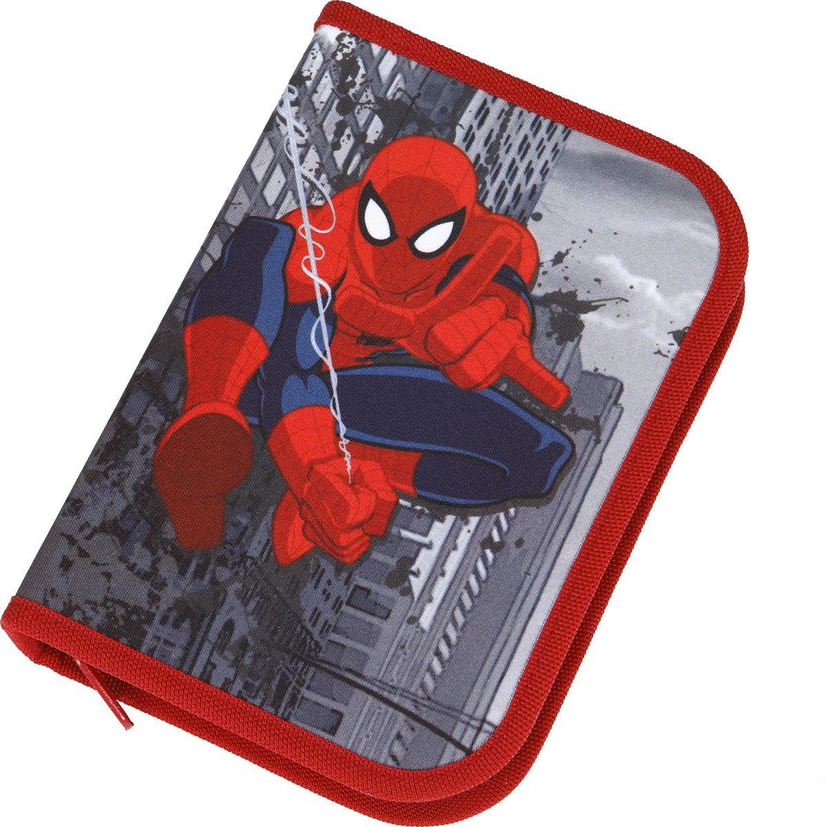 Scooli Пенал для мальчика Spider-Man72523WDПенал на застежке-молнии. Пенал с наполнением: 1 простой карандаш (трехгранный корпус), 8 цветных карандашей (трехгранный корпус), 5 цветных фломастеров (трехгранный корпус) с вентилируемым колпачком, линейка (16 см), точилка и ластик