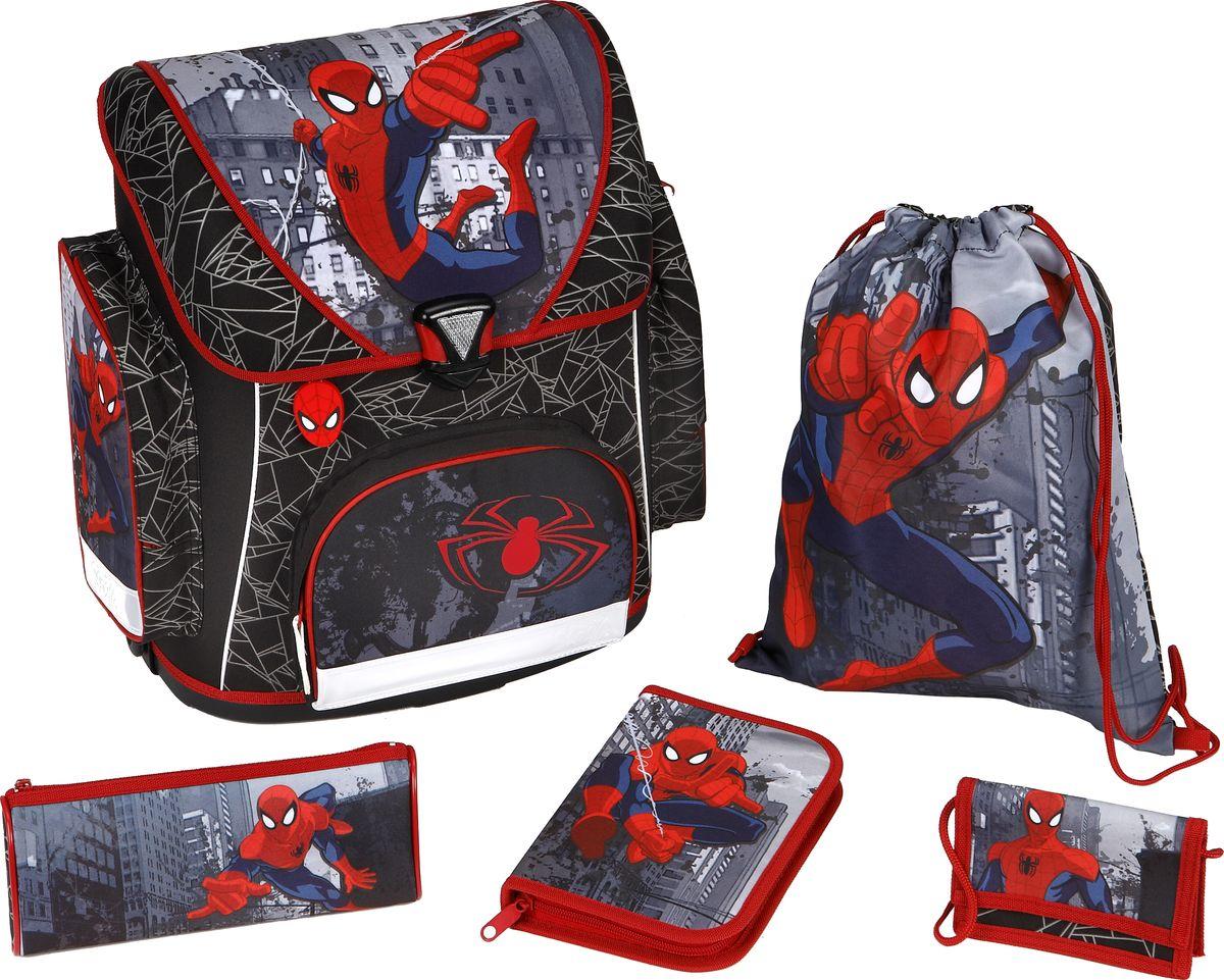 Scooli Ранец школьный для мальчика Spider-Man с наполнением730396Детский ранец Spider-Man привлечет внимание мальчика своим ярким мультипликационным принтом. Модель универсальна и подойдет как для учеников первого класса, так и для школьников до 4 класса. 3 внутренних отделения, кармашек для телефона и вместительные карманы сбоку и спереди помогут организовать порядок и аккуратно разложить все аксессуары. •Эргономичная спинка не нагружает позвоночник;•Мягкие лямки регулируются под рост;•Светоотражатели гарантируют ребенку безопасность на дороге;•Прочная пластиковая конструкция предотвращает деформацию;•Первоклассник сможет носить ранец благодаря его легкому весу. В комплекте с рюкзаком все необходимое для учебы:•пенал с наполнением (карандаши, цветные фломастеры, линейки, ластик, точилка);•пенал-тубус;•маленький кошелек;•мешок для сменной обуви.