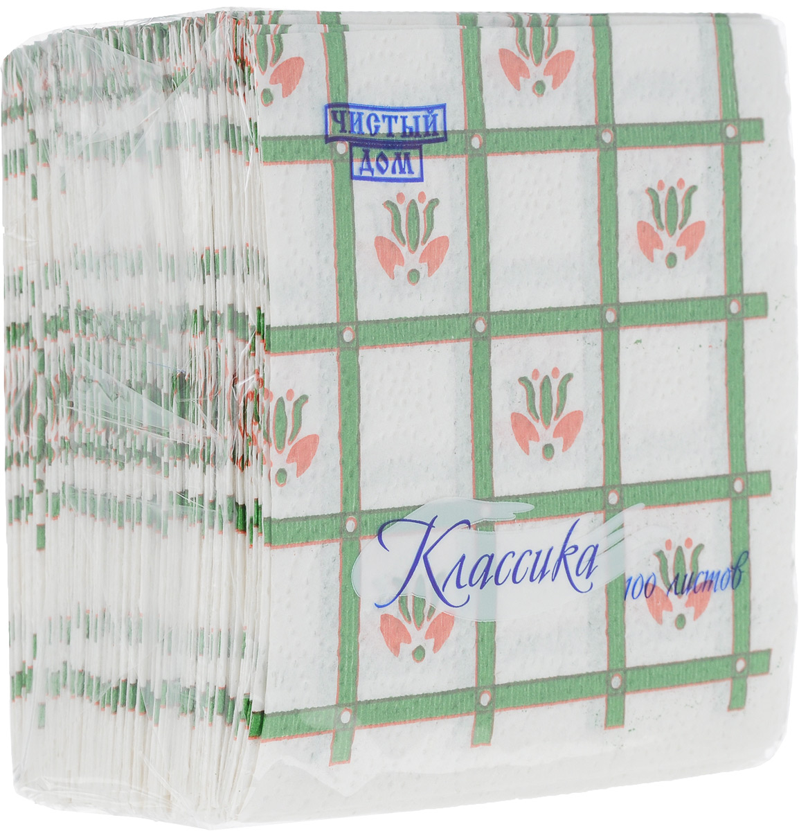 Салфетки бумажные Чистый дом Классика. Крупная клетка, однослойные, цвет: белый, зеленый, красный, 25 х 25 см, 100 шт391602Однослойные салфетки Чистый дом Классика. Крупная клетка выполнены из 100% целлюлозы. Салфетки подходят для косметического, санитарно-гигиенического и хозяйственного назначения. Нежные и мягкие, но в то же время прочные. Салфетки дополнены тиснением и ярким рисунком.Размер салфеток: 25 х 25 см.