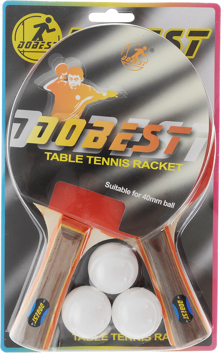 Набор для настольного тенниса Dobest, 5 предметов. BR06/0527Набор Dobest включает в себя 2 ракетки и 3 мячика. Ракетка, изготовленная из дерева и резины, удобно лежит в руке, гарантирует хорошее чувство мяча и наиболее комфортную игру. Подходит для любителей и начинающих игроков. Такая ракетка дает возможность тренировать вращение и скорость и переходить на более высокий уровень игры. Мячики выполнены из специального облегченного материала - целлулоид. Настольный теннис - спортивная игра, основанная на перекидывании мяча ракетками через игровой стол с сеткой. Цель игры - не дать противнику отбить мяч. Игра в настольный теннис развивает концентрацию внимания, ловкость и координацию. Размер ракетки: 25,5 х 15 см. Длина ручки: 10 см.Диаметр мяча: 4 см.Уважаемые клиенты! Обращаем ваше внимание на ассортимент в цвете шариков. Поставка осуществляется в зависимости от наличия на складе.