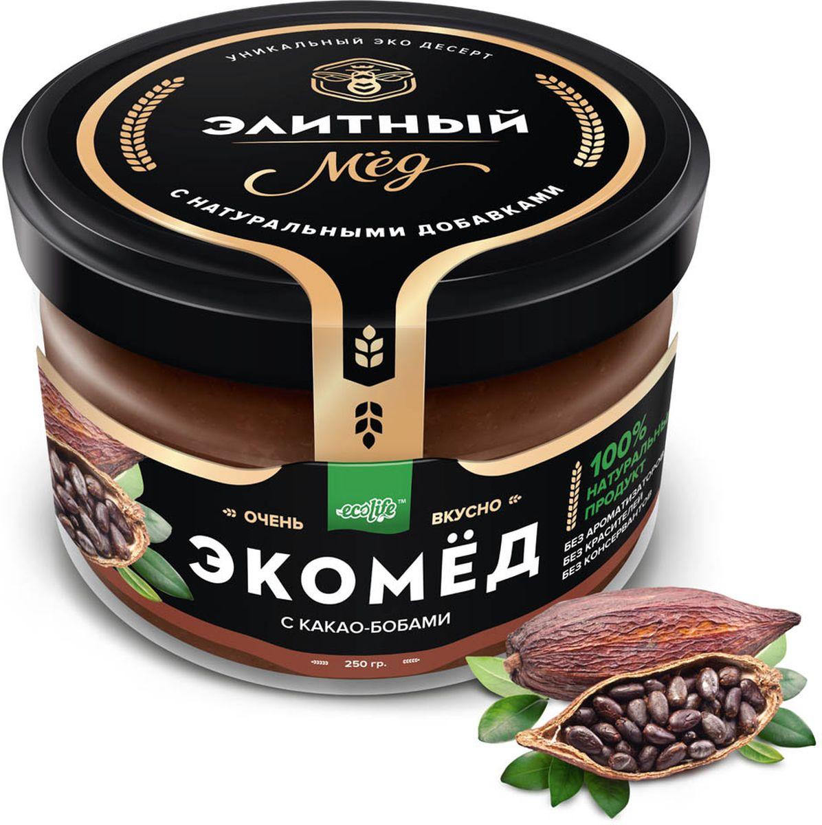 Ecolife Экомед с какао-бобами, 250 г0120710100% натуральный экопродукт, имеющий в составе только натуральные ингредиенты. При изготовлении не используется дешевый подсолнечный мёд. Мед не нагревается, сохраняются все его полезные свойства. Экомёд не имеет эффекта расслаивания.