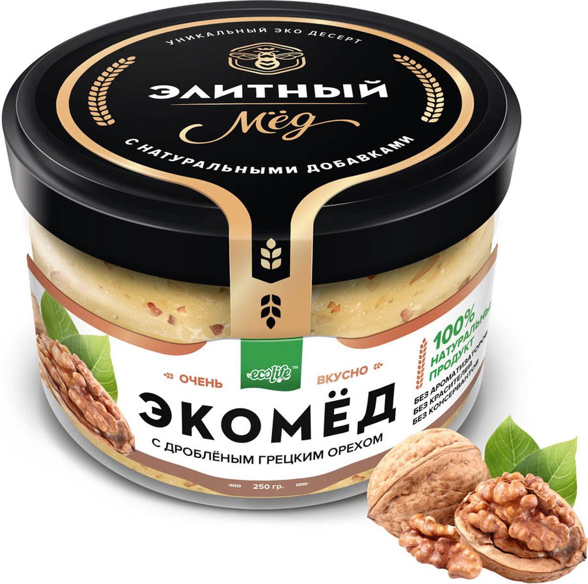Ecolife Экомед с грецким орехом, 250 г4665298961677100% натуральный экопродукт, имеющий в составе только натуральные ингредиенты. При изготовлении не используется дешевый подсолнечный мёд. Мед не нагревается, сохраняются все его полезные свойства. Экомёд не имеет эффекта расслаивания.
