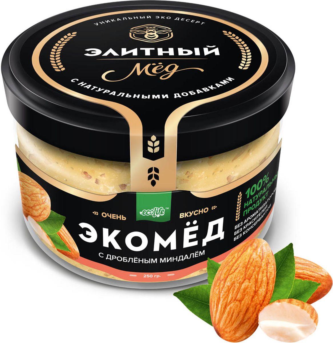 Ecolife Экомед с миндалем, 250 г0120710100% натуральный экопродукт, имеющий в составе только натуральные ингредиенты. При изготовлении не используется дешевый подсолнечный мёд. Мед не нагревается, сохраняются все его полезные свойства. Экомёд не имеет эффекта расслаивания.