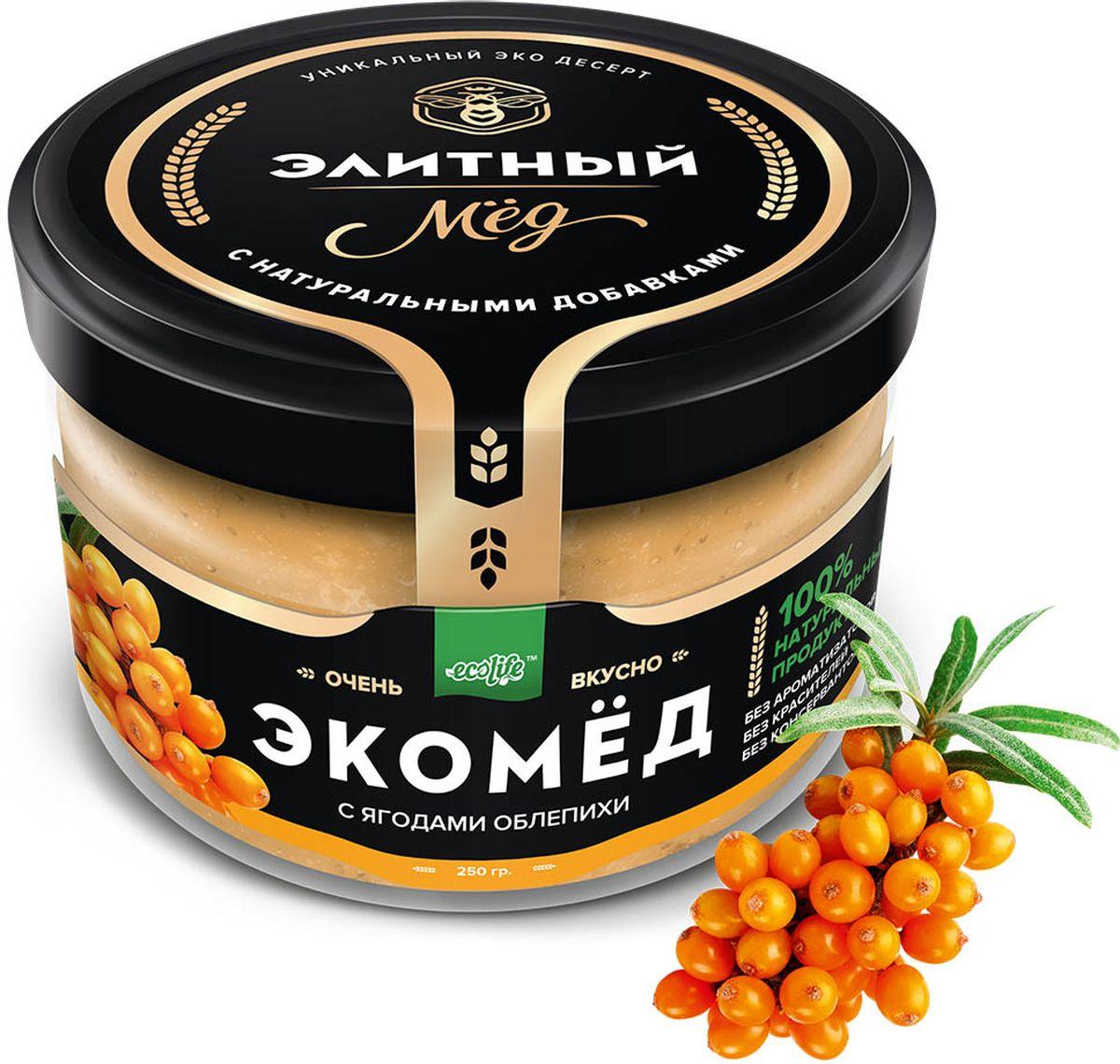 Ecolife Экомед с облепихой, 250 г0120710100% натуральный экопродукт, имеющий в составе только натуральные ингредиенты. При изготовлении не используется дешевый подсолнечный мёд. Мед не нагревается, сохраняются все его полезные свойства. Экомёд не имеет эффекта расслаивания.