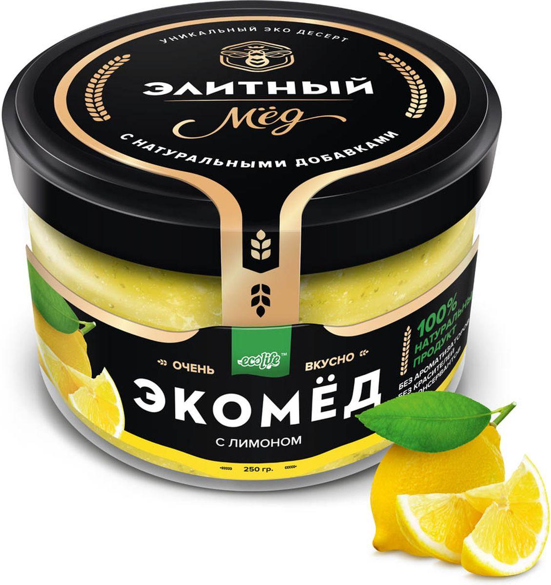 Ecolife Экомед с лимоном, 250 г0120710100% натуральный экопродукт, имеющий в составе только натуральные ингредиенты. При изготовлении не используется дешевый подсолнечный мёд. Мед не нагревается, сохраняются все его полезные свойства. Экомёд не имеет эффекта расслаивания.