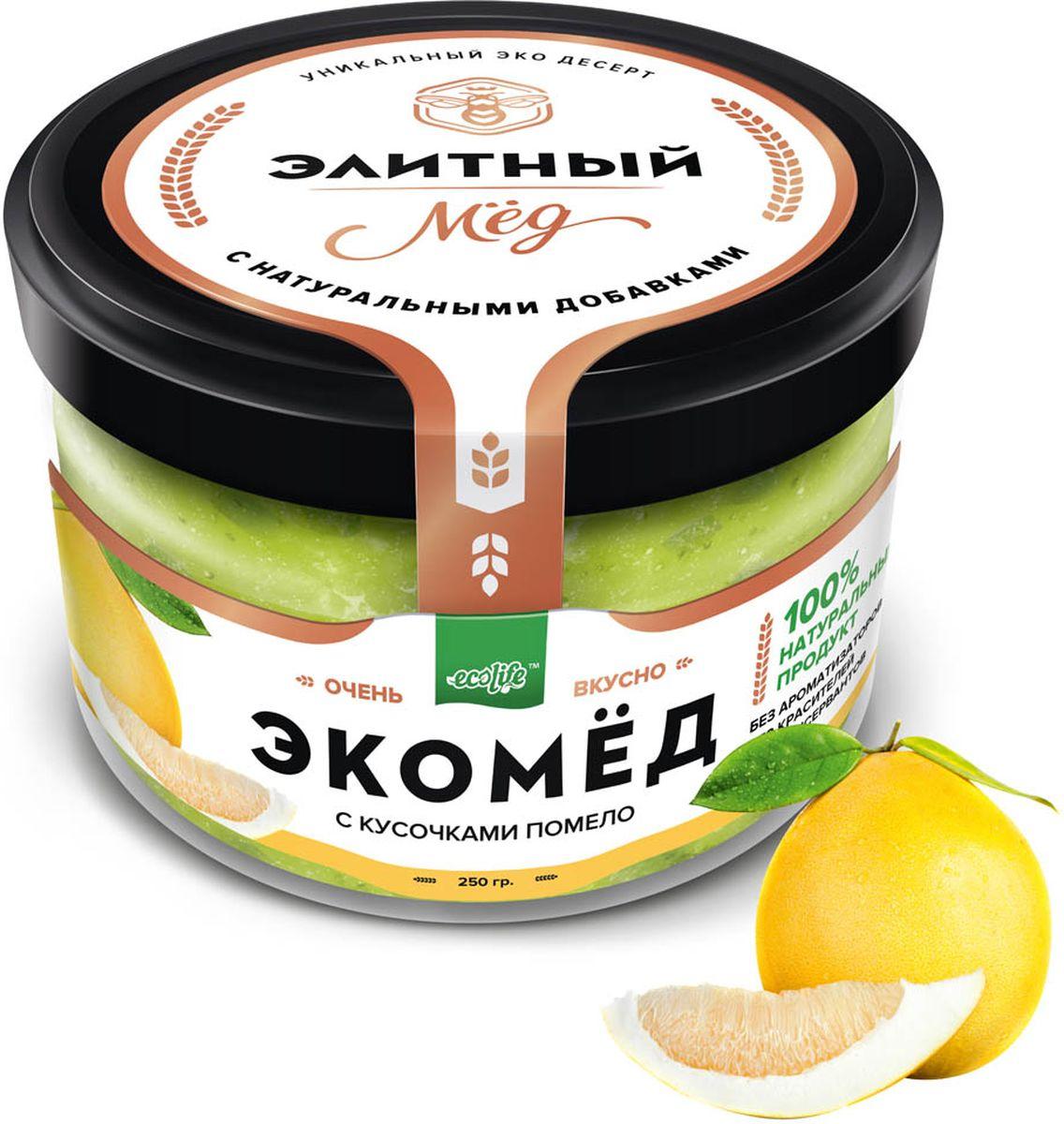 Ecolife Экомед с помело, 250 г0120710100% натуральный экопродукт, имеющий в составе только натуральные ингредиенты. При изготовлении не используется дешевый подсолнечный мёд. Мед не нагревается, сохраняются все его полезные свойства. Экомёд не имеет эффекта расслаивания.