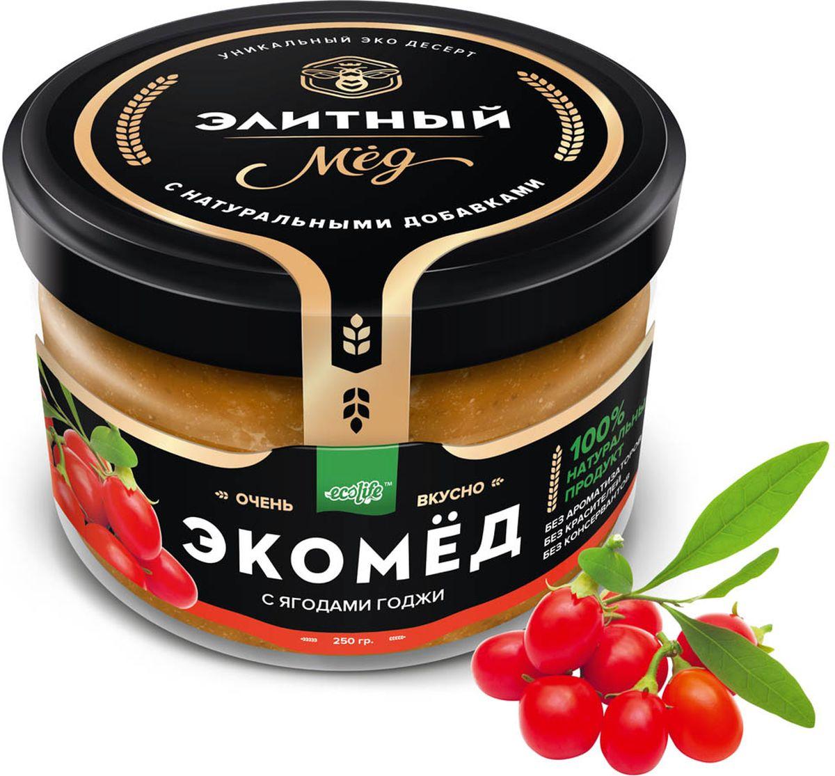 Ecolife Экомед с ягодами годжи, 250 г0120710100% натуральный экопродукт, имеющий в составе только натуральные ингредиенты. При изготовлении не используется дешевый подсолнечный мёд. Мед не нагревается, сохраняются все его полезные свойства. Экомёд не имеет эффекта расслаивания.