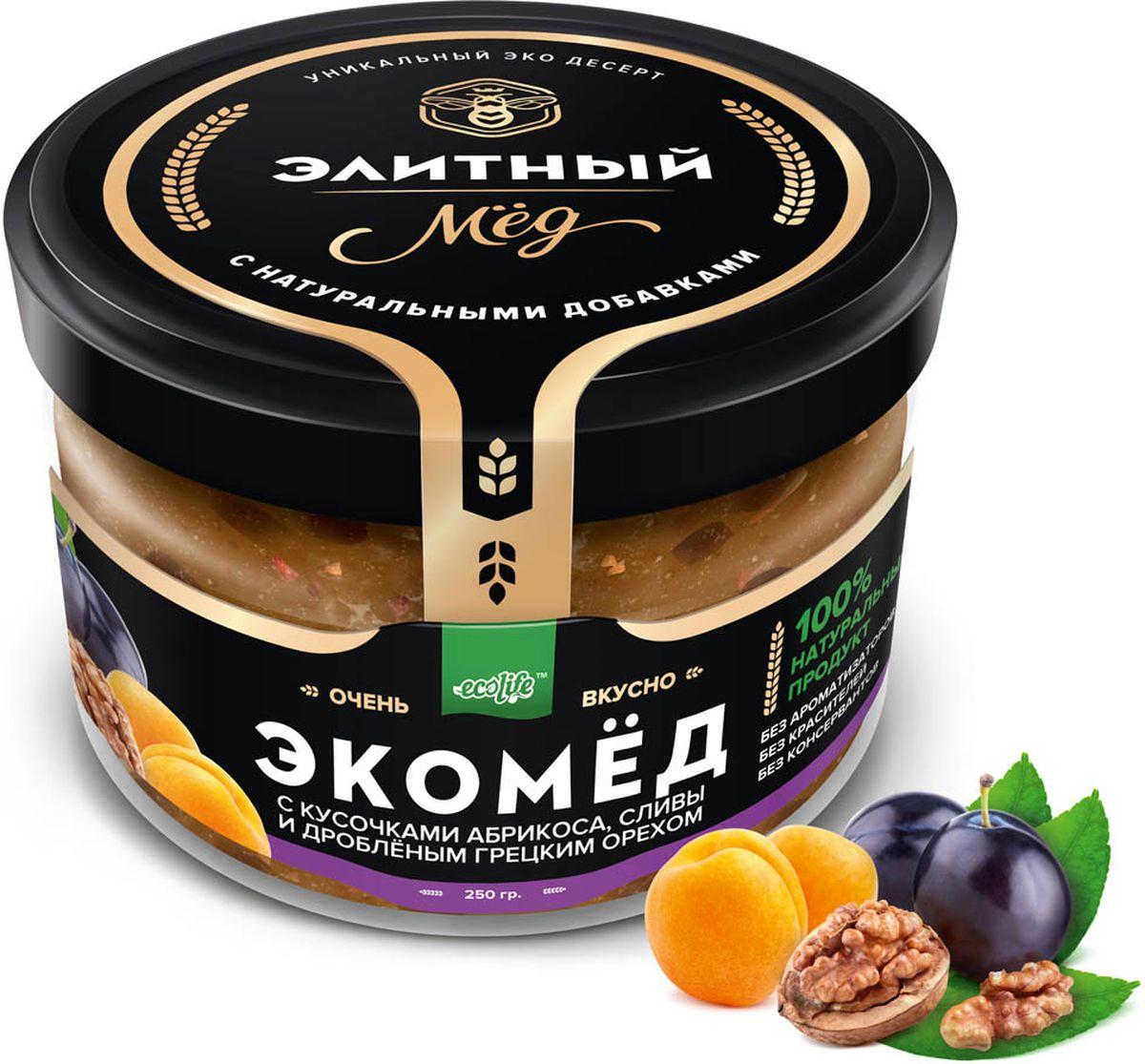 Ecolife Экомед с абрикосом, сливой 0120710100% натуральный экопродукт, имеющий в составе только натуральные ингредиенты. При изготовлении не используется дешевый подсолнечный мёд. Мед не нагревается, сохраняются все его полезные свойства. Экомёд не имеет эффекта расслаивания.