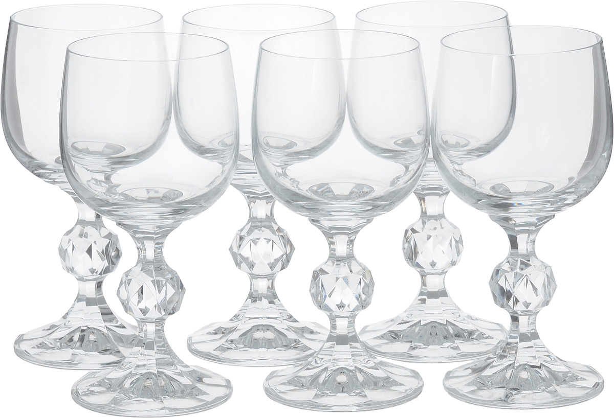 Набор бокалов для вина Bohemia Crystal Клаудия, 150 мл, 6 штVT-1520(SR)Набор Bohemia Crystal Клаудия состоит из шести бокалов, выполненных из прочного натрий-кальций-силикатного стекла. Изделия оснащены невысокими ножками с изысканным рельефом. Они излучают приятный блеск и издают мелодичный звон. Предназначены для подачи белого и красного вина. Бокалы сочетают в себе элегантный дизайн и функциональность. Благодаря такому набору пить напитки будет еще вкуснее.Набор бокалов Bohemia Crystal Клаудия прекрасно оформит праздничный стол и создаст приятную атмосферу за романтическим ужином. Такой набор также станет хорошим подарком к любому случаю. Не использовать в посудомоечной машине и микроволновой печи. Диаметр бокала (по верхнему краю): 6 см. Высота бокала: 13,5 см. Диаметр основания: 6 см.
