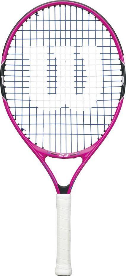 Ракетка теннисная Wilson Burn Pink 23, детскаяWRT218100Теннисная ракетка Wilson Burn Pink 23 достаточно легкая и простая, идеально подходит для детей, которые только начинают свою карьеру профессионального теннисиста. Данная модель предназначена специально для девочек. Ракетка достаточно легкая, поэтому ребенку будет несложно держать ее в руке правильно.Длина: 58 см.Струнная формула: 16 x 17 см.Вес: 205 г.