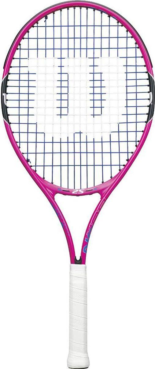 Теннисная ракетка Wilson Burn Pink 25, детская332515-2800Ракетка Wilson Burn 25Ракетка теннисная Wilson Подростковая теннисная ракетка для детей возрастом 9-10 лет, которые только начинают учиться играть. Легко делать замах, рекомендуется использовать оранжевые зеленые мячи для детей.Длина: 25 дюймовСтрока Выкройка: 16x19Поперечное сечение: 20.5mm DРазмер головы: 105 квадратных дюймовВес: 7,9 унций.