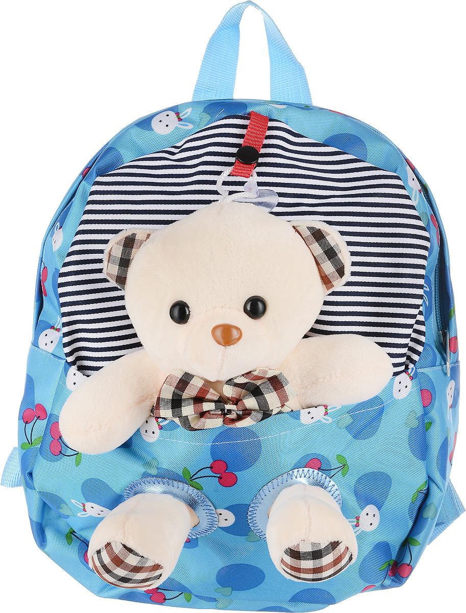 Рюкзак детский Good Mood, цвет: голубой. 736S76245Яркий детский рюкзак с игрушкой GOOD MOOD изготовлен специально для детей дошкольного возраста. Рюкзак оснащен регулируемыми лямками, плотной спинкой и украшен игрушкой в виде Мишки.Игрушка легко снимается и может использоваться отдельно от рюкзака. Мишка станет настоящим другом вашего малыша, доставляя при этом ему массу положительный эмоций. Рюкзак идеально подойдет для похода в садик, на прогулку, в гости и т.д. Состав: 100% хб, подкладка-100% полиэстер, игрушка-100% полиэстер Цвет: Голубой Для детей от 3 лет. Количество отделений : 1 Оригинальный дизайн