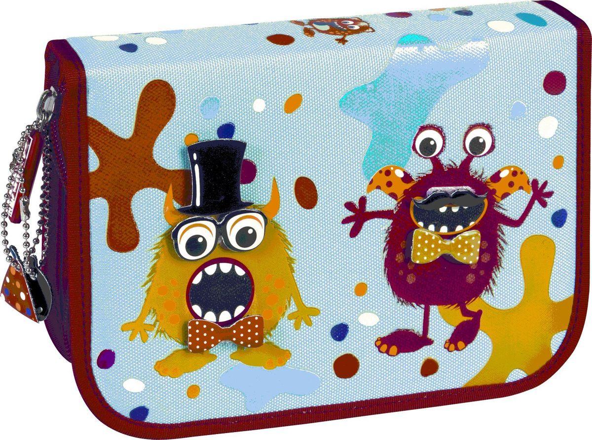 Brunnen Monster Пенал с наполнением 16 предметов72523WDРазмер: 19,5х13,5х3,5 см.Материал - ткань.2 клапана.С наполнением - 16 предметов: 9 цветных карандашей, 2 простых карандаша, линейка 16 см, двойная металлическая точилка, ластик, карман для денег на липучке, трафарет.