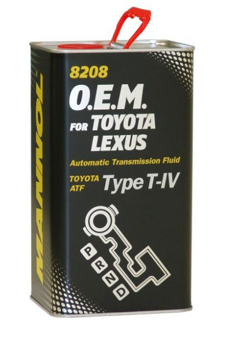Трансмиссионное масло MANNOL 8208 O.E.M., для Toyota и Lexus, синтетическое, 4 лS03301004Синтетическое трансмиссионное масло MANNOL 8208 O.E.M. - универсальное всесезонное масло высочайшего качества, разработанное для использования в автоматических коробках передач, для которых автопроизводители предписывают использование жидкостей Toyota Type T-IV. Тщательно подобранные присадки и синтетические компоненты обеспечивают наилучшие фрикционные свойства в момент переключения скоростей, отличные низкотемпературные характеристики, высокую антиокислительную и химическую стабильность на всем сроке эксплуатации.