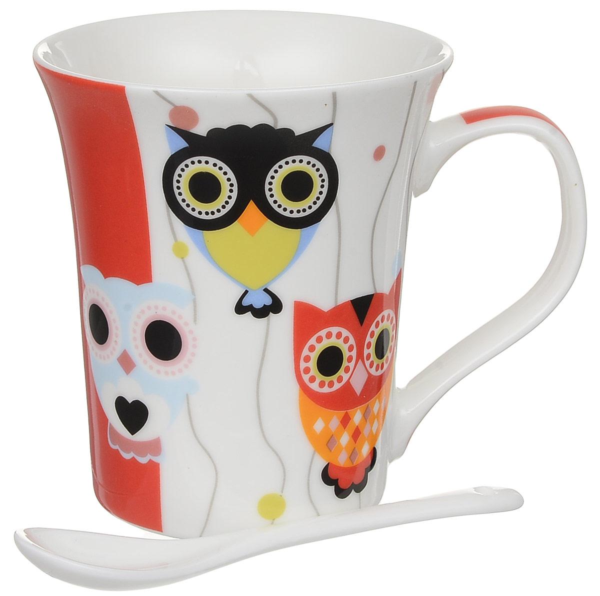 Кружка Доляна Совята, с ложкой, 300 мл68/5/2Кружка Доляна Совята, изготовленная из высококачественной глазурованной керамики, снабжена удобной ручкой. Такая кружка прекрасно оформит стол к чаепитию.В комплект входит чайная ложка. Объем кружки: 300 мл.Диаметр кружки (по верхнему краю): 9,5 см.Высота кружки: 10,5 см.Длина ложки: 10 см.Размер рабочей части ложки: 4 х 2,5 см.