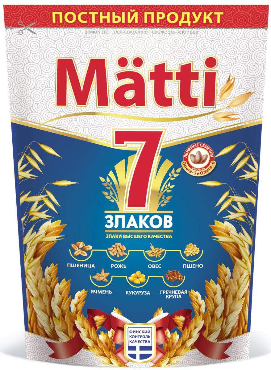 Matti 7 злаков, 400 г0120710В состав Matti 7 злаков входят только натуральные ингредиенты: овсяные, ржаные, пшеничные, ячменные, гречневые, пшенные, кукурузные хлопья и семена льна. Данное сочетание семи злаковых культур идеально для поддержания энергетического баланса, естественно очищает организм от шлаков и обеспечивает его комплексом витаминов и микроэлементов. 2 часть хлопьев высыпать в емкость, залить 4 частями горячей воды, или горячего молока, варить 3 минуты.