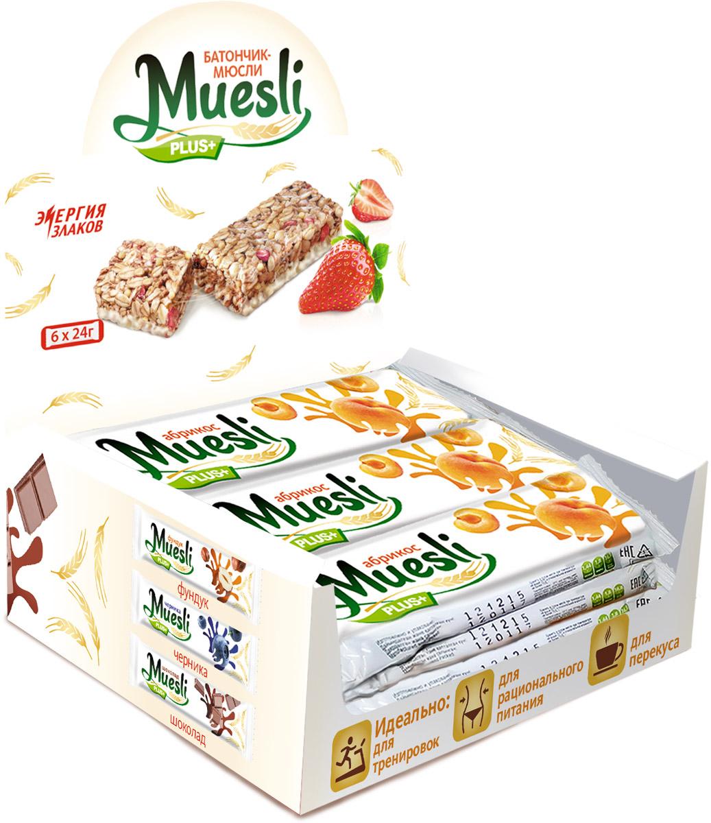 Matti Muesli Plus батончик мюсли абрикос, 6 х 24 г0120710Батончики-мюсли Muesli Plus+ обладают сбалансированным составом и являются продуктом переработки натуральных злаков, здоровым и полезным источником сил и энергии. Содержат злаки, натуральные кусочки абрикоса. Без ГМО, красителей, консервантов. В состав входит натуральный ароматизатор.