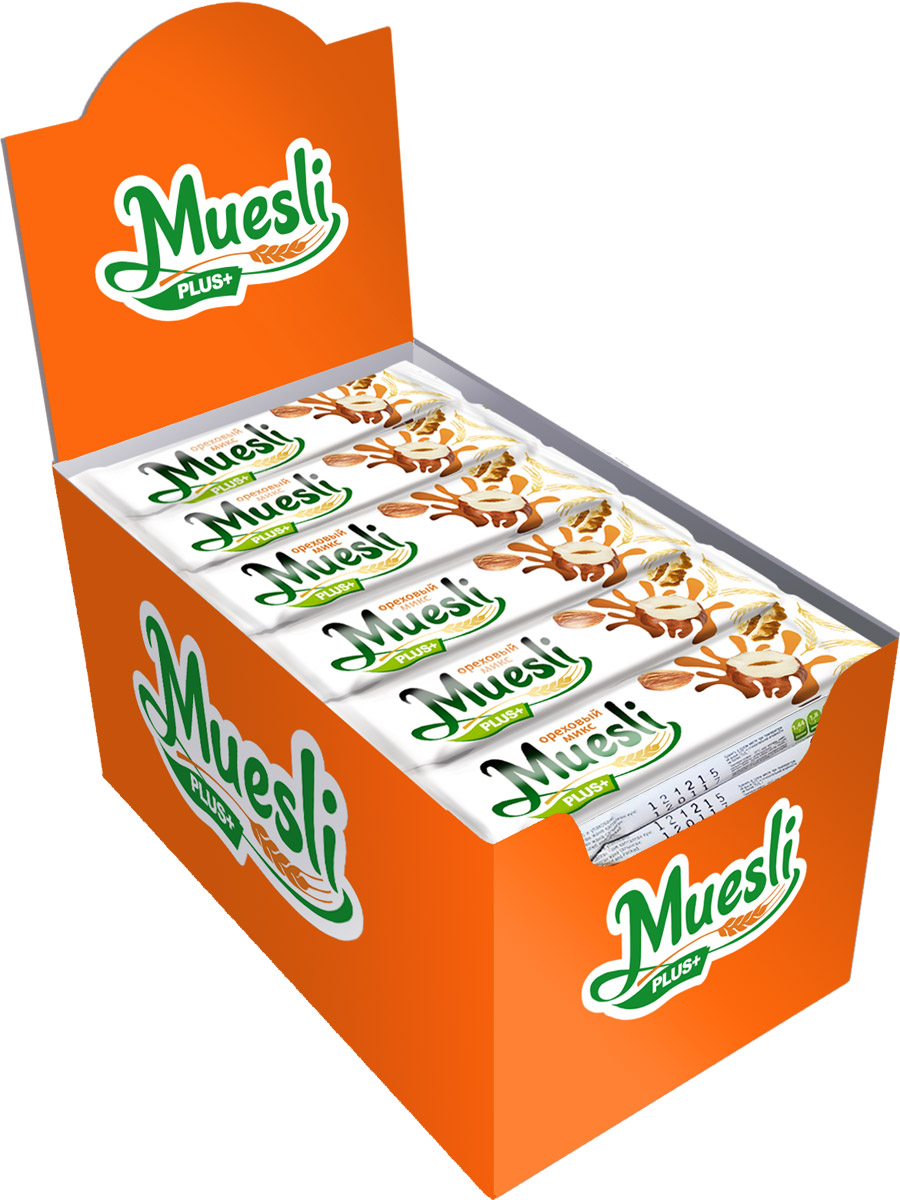 Matti Muesli Plus батончик мюсли ореховый микс, 36 шт по 24 гУТ-00000078Батончики-мюсли Muesli Plus+ обладают сбалансированным составом и являются продуктом переработки натуральных злаков, здоровым и полезным источником сил и энергии. Содержат злаки, фундук, грецкий орех, миндаль, арахис и семечки. В состав входит натуральный ароматизатор.