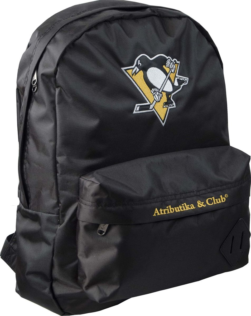 Рюкзак Atributika & Club Pittsburgh Penguins, цвет: черный, 25 л. 5805558047Рюкзак Atributika & Club изготовлен из 100% полиэстера с отделкой искусственной кожей. Модель имеет одно основное отделение, которое закрывается на застежку-молнию. Внутри содержится отделение с мягкой стенкой для хранения ноутбука или планшета и 2 небольших накладных кармана. Спереди расположен объемной накладной карман на молнии. Спинка и лямки модели выполнены из прочного сетчатого материала, обладающего хорошей воздухопроницаемостью, и снабжены мягким наполнителем. Лямки снабжены пластиковыми элементами для регулировки размера. Модель украшена оригинальной вышивкой.