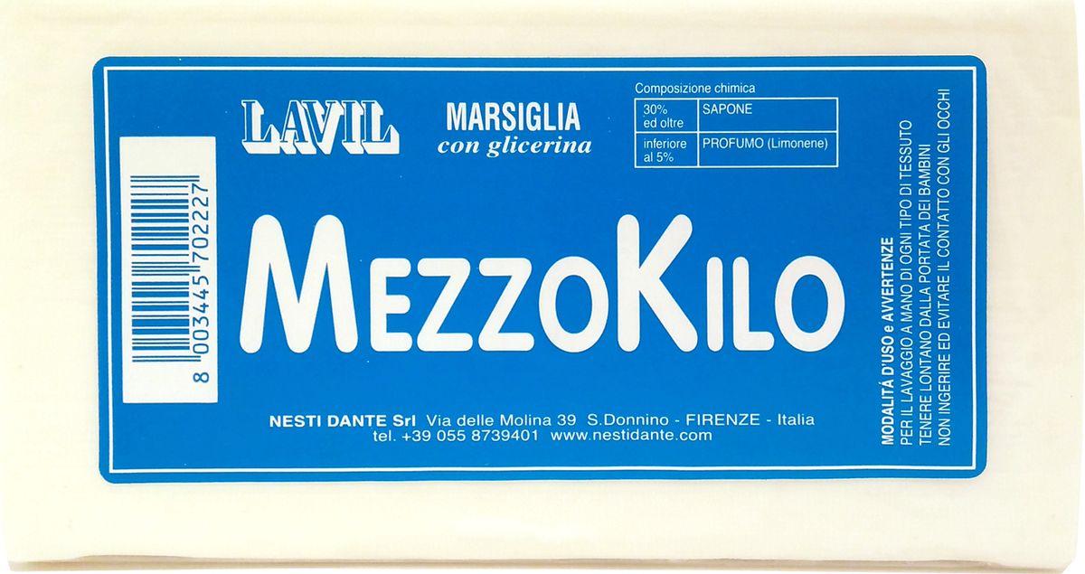Nesti Dante Мыло Lavil Mezzokilo Laundry Soap Лавил Меззокило, 500 г5010777139655Натуральное хозяйственное мыло белого цвета для стирки. В составе содержится глицерин, что способствует бережной защите рук при использовании