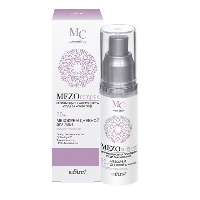 Белита Мезокрем дневной для лица 30+ Глубокое Увлажнение MEZOcomplex, 50 млB-1285Легкий по структуре дневной мезокрем восстанавливает оптимальный уровень увлажненности кожи, увеличивает тонус и упругость кожи, выравнивает ее поверхность, улучшает цвет лица, придает свежий вид.Optim Hyal™ стимулирует синтез гиалуроновой кислоты, восстанавливает ее оптимальный баланс, повышает увлажненность кожи, увеличивает ее эластичность, плотность и упругость, уменьшает несовершенства и разглаживает морщины.Гиалуроновая кислота глубоко увлажняет кожу и удерживает влагу на поверхности, повышает эластичность кожи, разглаживает морщины и выравнивает тон.Коктейль из аминокислот (таурин, глицин, аргинин) наполняет клетки кожи энергией и жизненной силой, способствует клеточной регенерации.LPD's Multivitamin (витамины A, C, E, F) ускоряют процесс обновления клеток, стимулируют синтез коллагена и сокращают морщины.Polylift® обладает легким лифтинг-эффектом, придает коже упругость, выравнивает микрорельеф, сокращает морщины.ВНИМАНИЕ: активная формула — возможно пощипывание.