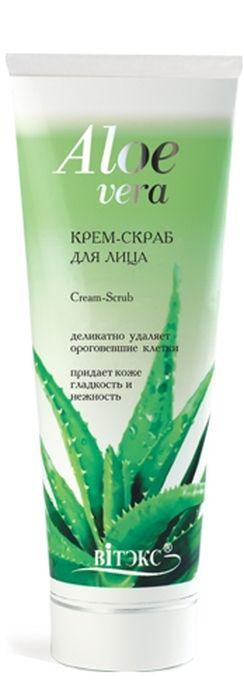 Витэкс Aloe Vera Крем-скраб для лица, 100 мл420702Крем-скраб мягко и тщательно очищает кожу лица и удаляет ороговевшие клетки эпидермиса. Особые микрогранулы выравнивают рельеф, улучшают кровообращение, стимулируют обновление и омоложение кожи. Сок Алоэ и витамин Е интенсивно увлажняют, питают, разглаживают и смягчают кожу во время очищения. Результат: Гладкая, нежная и сияющая кожа.