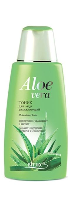 Витэкс Aloe Vera Тоник для лица Увлажняющий, 180 млV-122Назначение: Очищение, Увлажнение, Все типы кожиЛиния: Алоэ ВераМягкий тоник дополняет процесс очищения, увлажняет и тонизирует кожу. Сок Алоэ и натуральные увлажнители: бетаин и карбамид максимально быстро восполняют недостаток влаги в коже, эффективно питают и освежают. Результат: Нежная кожа и ощущение свежести