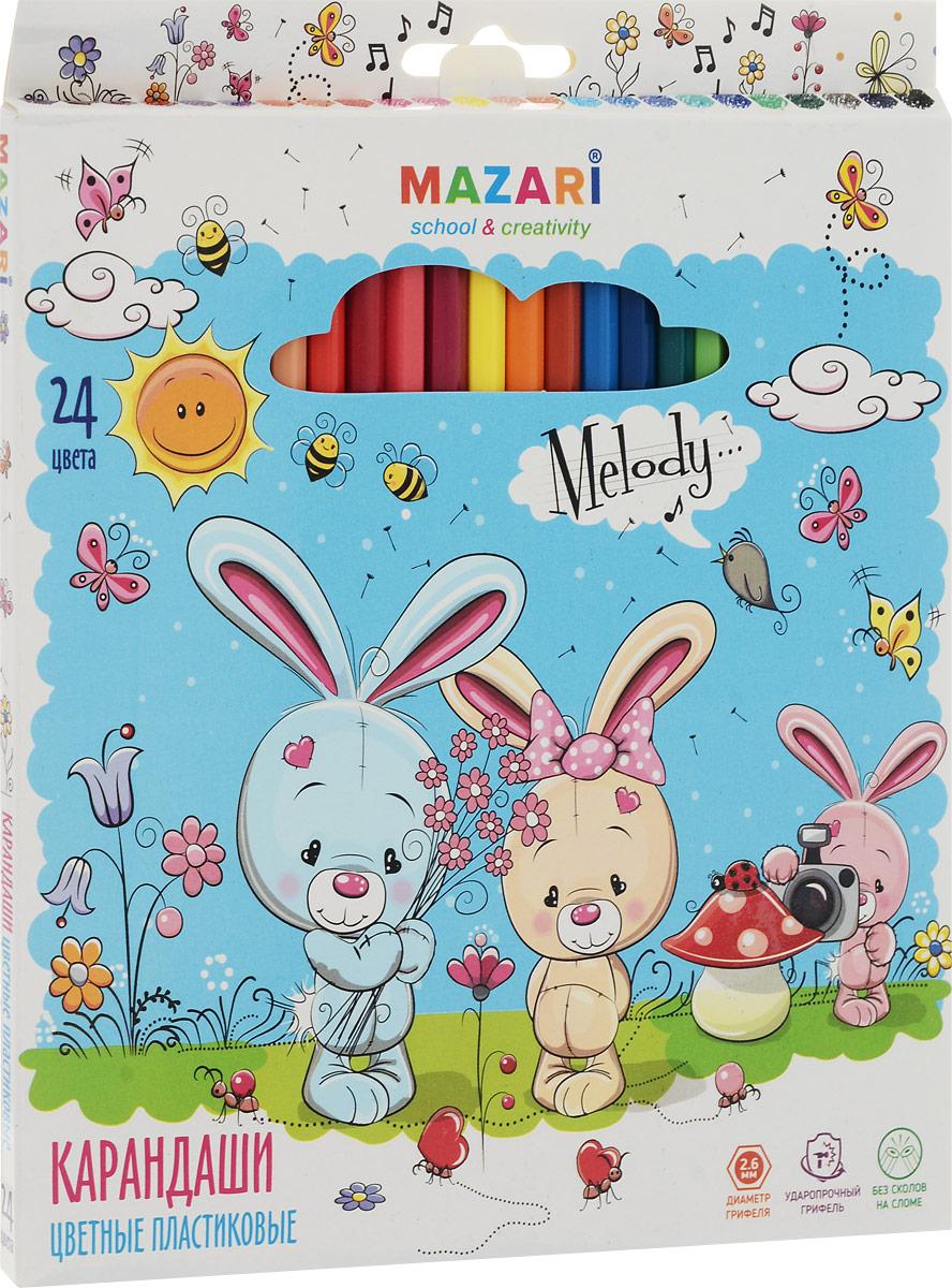 Mazari Набор цветных карандашей Melody 24 цветаМ-6119-24Карандаши цветные Mazari Melody предназначены для письма, рисования и черчения.Карандаши имеют шестигранную форму, диаметр грифеля - 2,6 мм.В наборе 24 карандаша ярких цветов.Уважаемые клиенты! Обращаем ваше внимание на возможные изменения в дизайне упаковки. Качественные характеристики товара остаются неизменными. Поставка осуществляется в зависимости от наличия на складе.