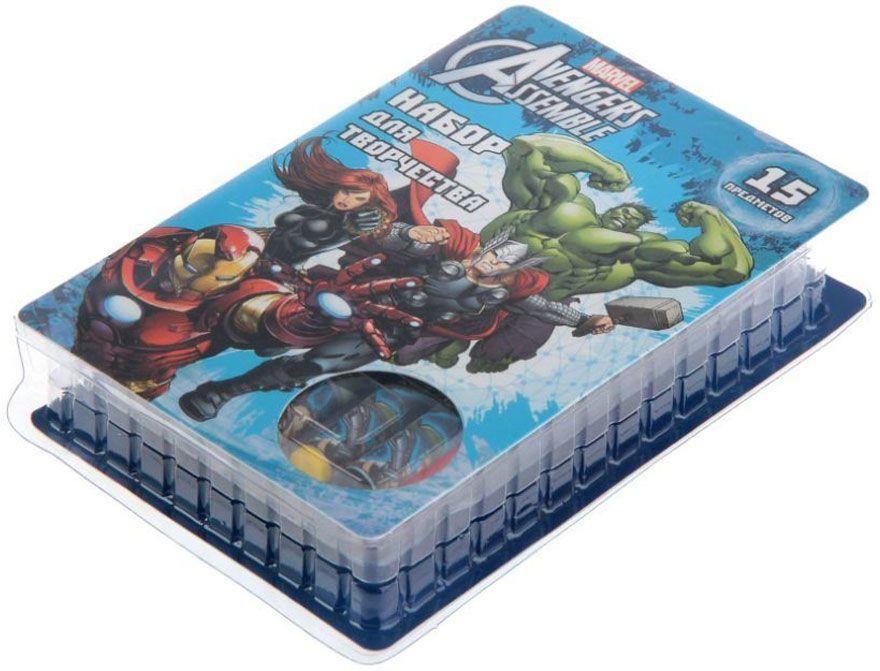 Disney Набор для творчества Мстители 15 предметовFS-36054В набор входит:6 цветных карандашей,книжка-раскраска,ластик,точилка,6 восковых мелков,футляр.