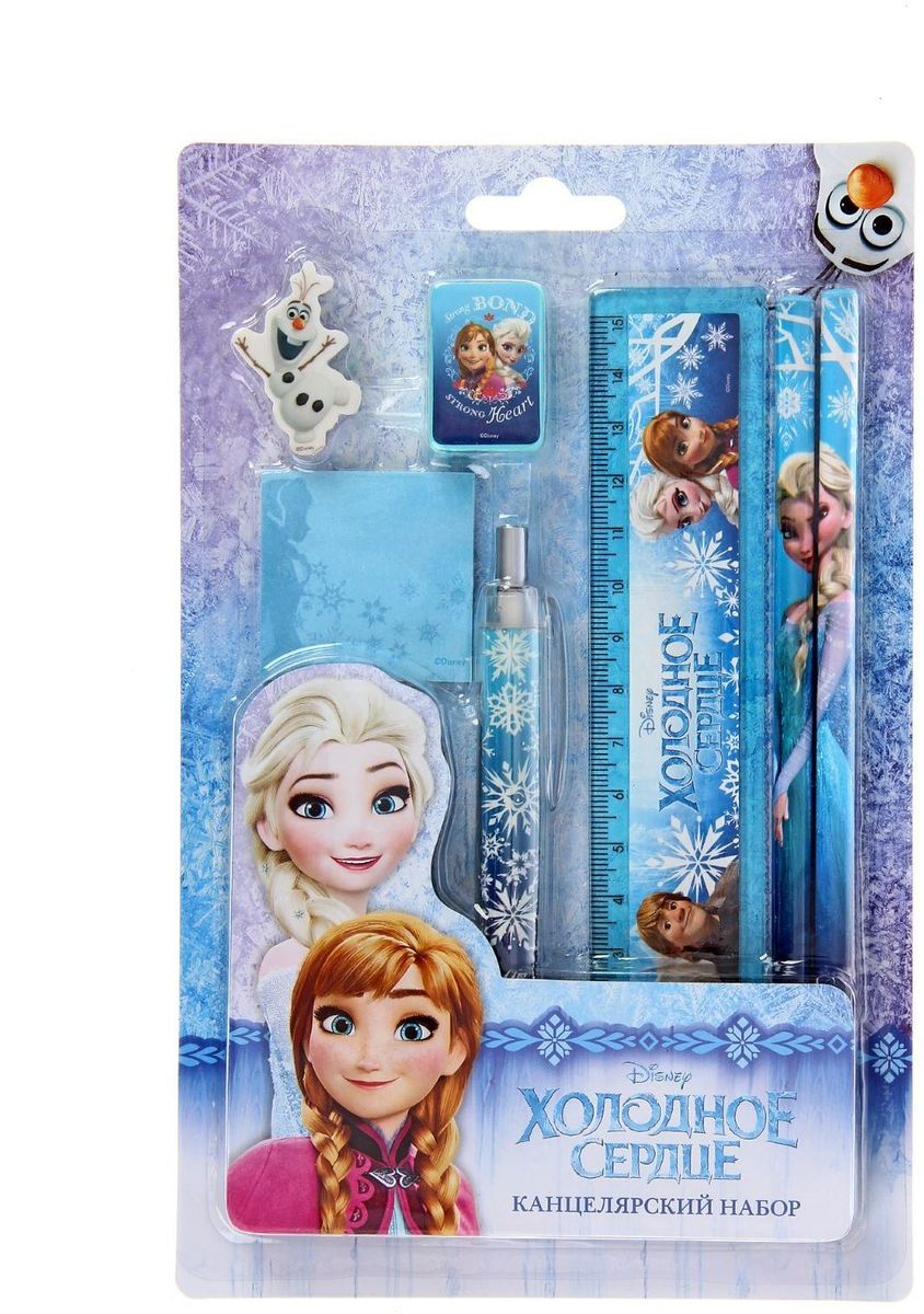 Disney Канцелярский набор Frozen 141193172523WDДети всегда ищут возможность самореализоваться и познать окружающий мир, их воображение не ограничено никакими рамками и у них есть тяга к чему-то неизведанному.Сохранить и развить эти качества поможет Канцелярский набор Disney Frozen, линейка, ластик, точилка, 2 карандаша, ручка, стикеры.Яркое оформление и богатое разнообразное наполнение изделия вызовут неподдельную радость у маленького непоседы.С таким набором ребёнок сможет раскрыть новые грани своего таланта, воплотить самые интересные задумки и похвастаться успехами перед родителями и сверстниками.