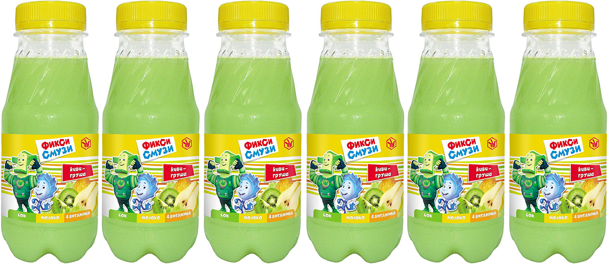 Фиксики смузи киви, груша, 6 шт по 0,25 л0120710Фикси смузи - натуральный сок с мякотью + молоко (белок и кальций) + комплекс из 4 витаминов (В6, Н, В5, РР) + хорошее настроение и веселая улыбка!Сбалансированное сочетание молока и сока с мякотью создает нежную и густую консистенцию и рождает тонкий и изысканный вкус, а уникальная технология розлива при щадящем температурномрежимесохраняет всю пользу молока и сока практически в неизменном виде на всем протяжении срока хранения.