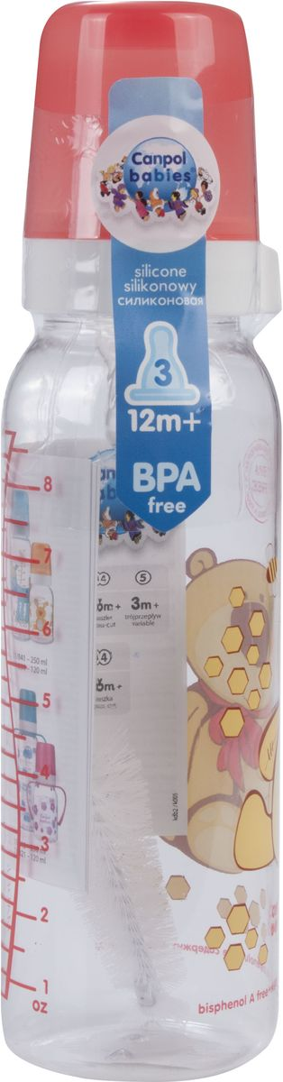 Canpol Babies Бутылочка Мишка с силиконовой соской от 12 месяцев 250 мл -  Бутылочки