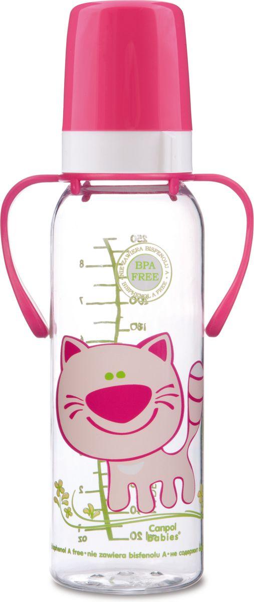 Canpol Babies Бутылочка Котенок с силиконовой соской от 12 месяцев цвет розовый 250 мл