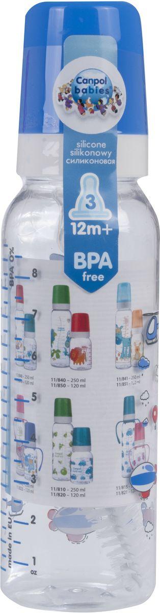 Canpol Babies Бутылочка Machines с силиконовой соской от 12 месяцев цвет синий 250 мл