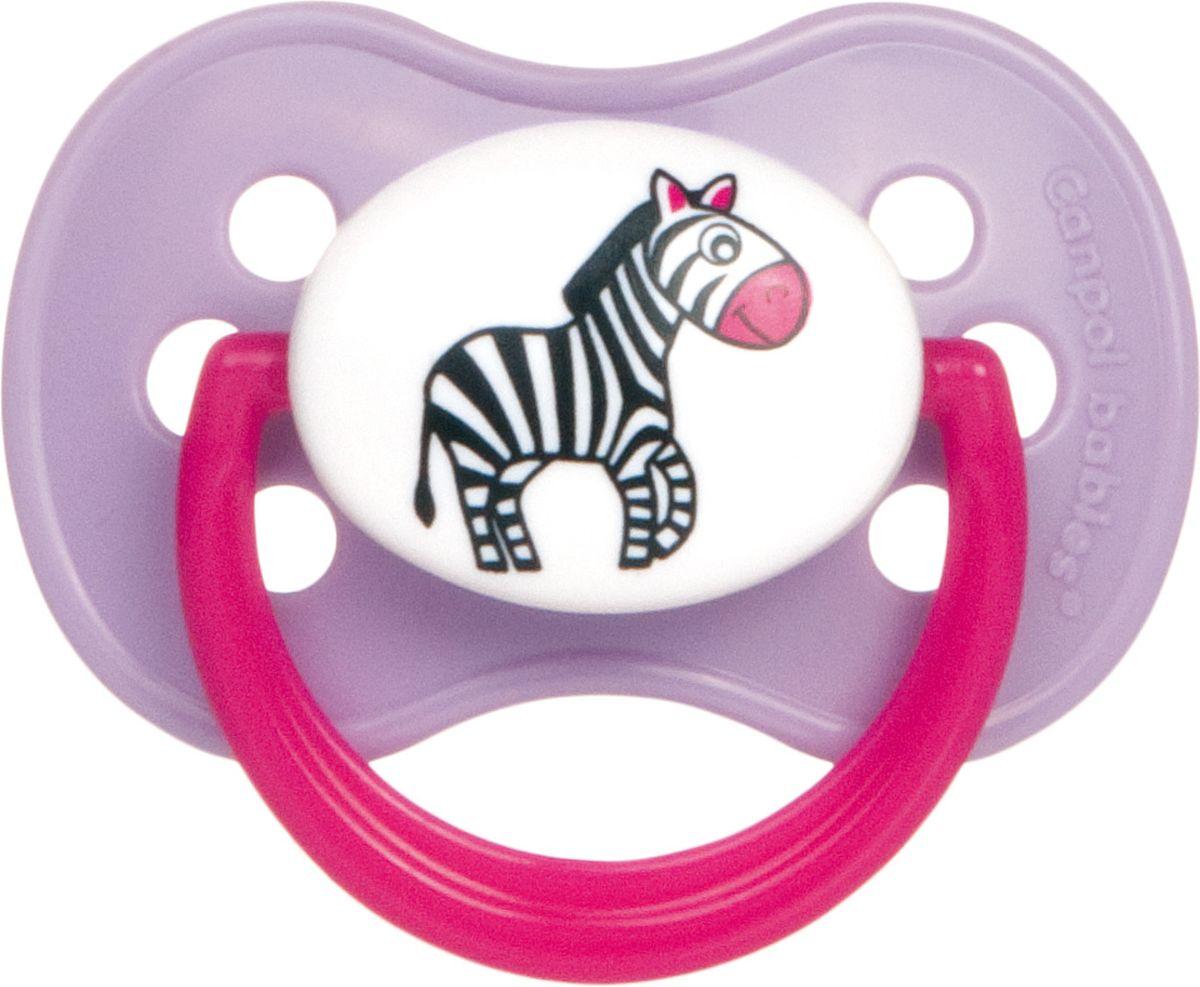 Canpol Babies Пустышка силиконовая круглая Animals от 0 до 6 месяцев цвет розовый