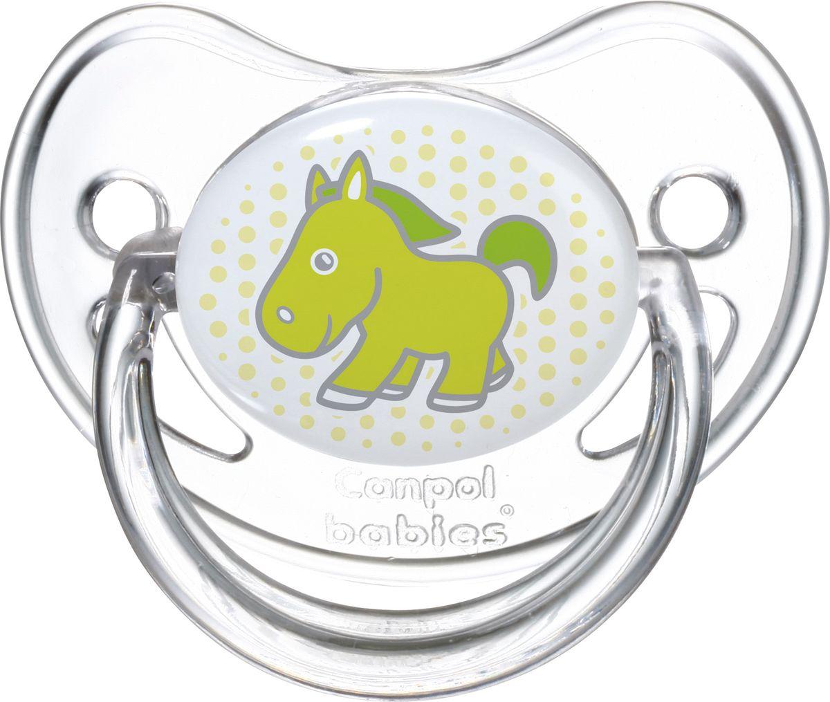 Canpol Babies Пустышка силиконовая круглая Transparent Лошадка от 6 до 18 месяцев
