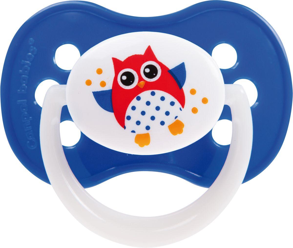 Canpol Babies Пустышка силиконовая симметричная Owl от 18 месяцев цвет синий